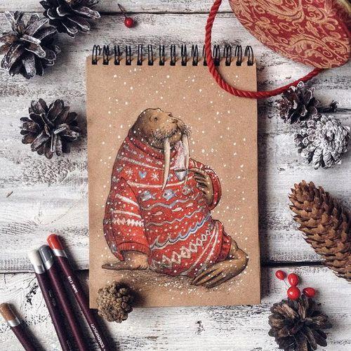животные-арт-рождественские ничья-Favim.com-3799714